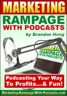 Ebook cover: Marketing Rampage With Podcasts