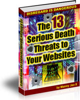 Ebook cover: The 13 Serious Death Threats to Your Websites