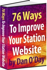 Ebook cover: 76 WAYS TO IMPROVE YOUR STATION WEBSITE