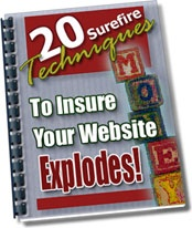 Ebook cover: 20 Surefire Techniques To Insure Your Website Explodes!