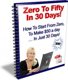 Ebook cover: Zero To Fifty In 30 Days!