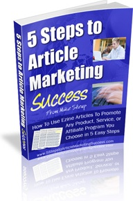 Ebook cover: 5 Steps to Article Marketing Success