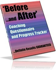 Ebook cover: The Before and After Coaching Questionnaire and Progress Tracker
