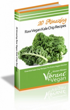 Ebook cover: 20 Amazing Raw Vegan Kale Chip Recipes