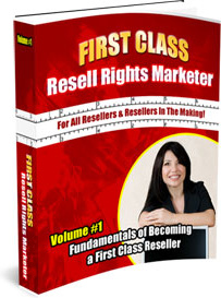 Ebook cover: First Class Resell Rights Marketer