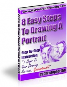 Ebook cover: 8 Easy Steps To Drawing A Portrait