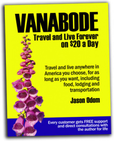 Ebook cover: Vanabode - camp, travel and live forever on $20 a day