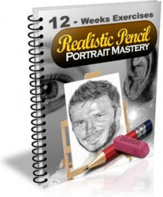 Ebook cover: 12-Weeks Pencil Portrait Mastery Exercises
