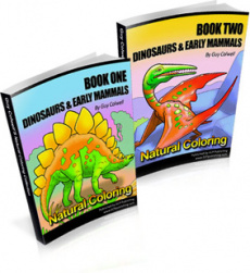 Ebook cover: Dinosaurs and Early Mammals Colouring Books