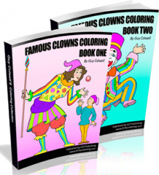 Ebook cover: Famous Clowns Colouring Books