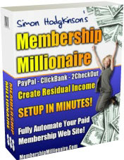 Ebook cover: Membership Millionaire software to create a membership site